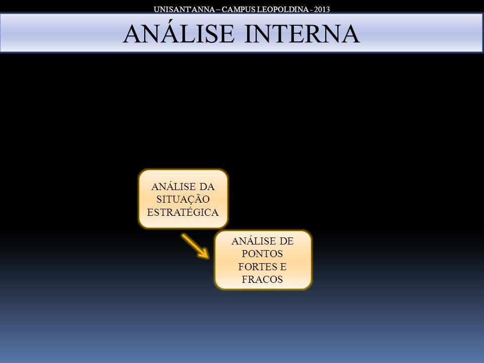 UNISANT ANNA – CAMPUS LEOPOLDINA - 2013 ANÁLISE RÁPIDA Principais Estratégias da Organização - Penetração no mercado – produtos e mercados tradicionais.