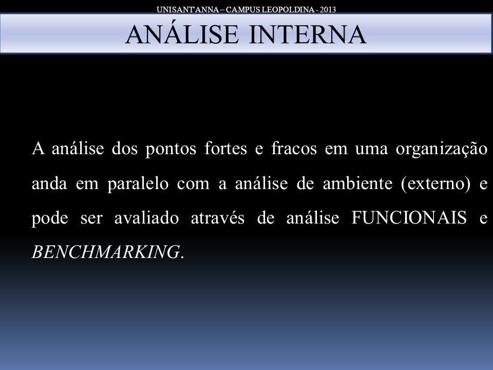 UNISANT'ANNA – CAMPUS LEOPOLDINA - 2013 ANÁLISE INTERNA A análise dos pontos fortes e fracos em uma organização anda em paralelo com a análise de ambi
