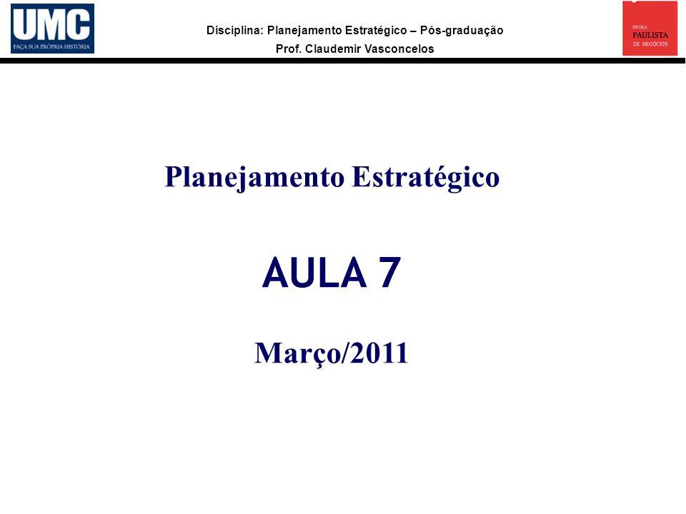 Disciplina: Planejamento Estratégico – Pós-graduação Prof. Claudemir Vasconcelos Planejamento Estratégico AULA 7 Março/2011