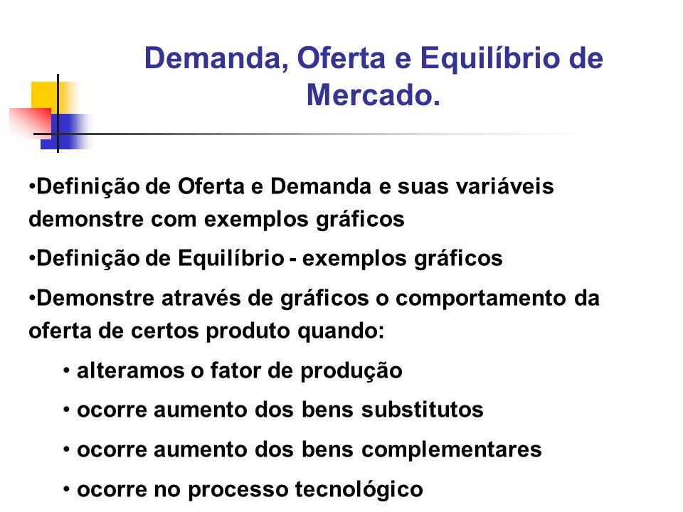 2 Definição de Oferta e Demanda e suas variáveis demonstre com exemplos gráficos Definição de Equilíbrio - exemplos gráficos Demonstre através de gráf