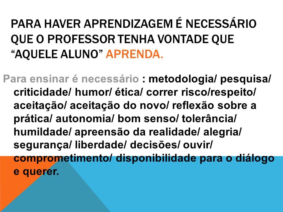 PARA HAVER APRENDIZAGEM É NECESSÁRIO QUE O PROFESSOR TENHA VONTADE QUE AQUELE ALUNO APRENDA. Para ensinar é necessário : metodologia/ pesquisa/ critic