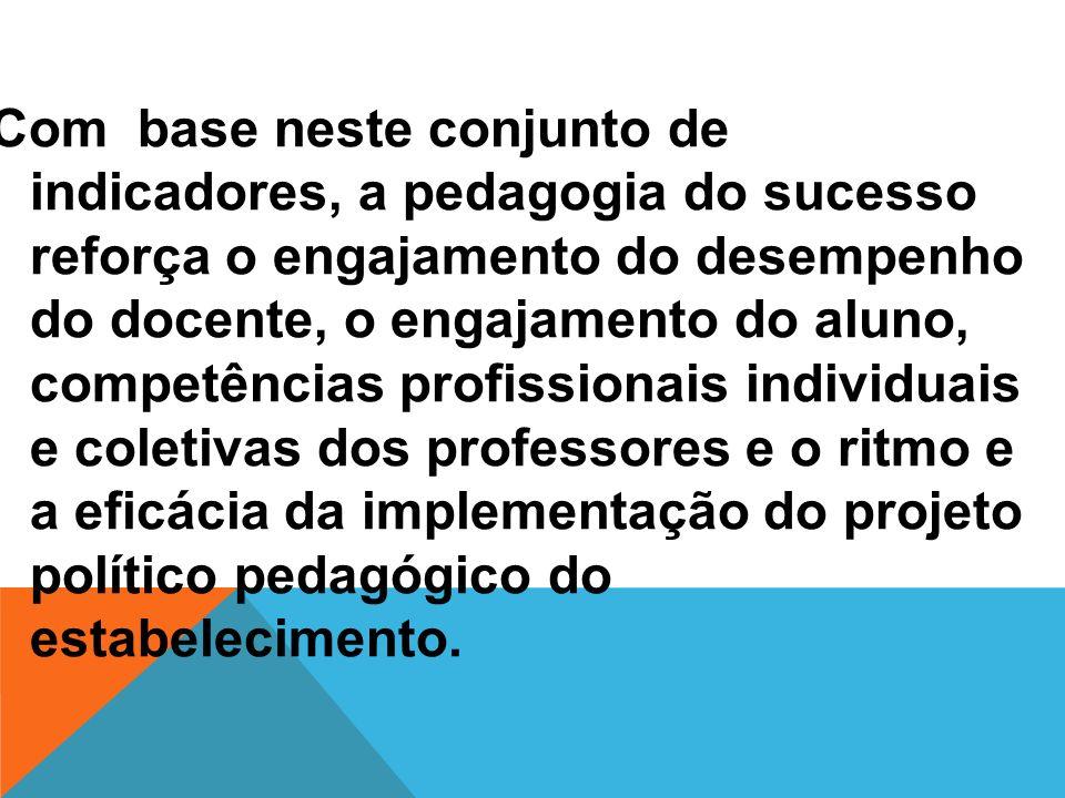 Com base neste conjunto de indicadores, a pedagogia do sucesso reforça o engajamento do desempenho do docente, o engajamento do aluno, competências pr
