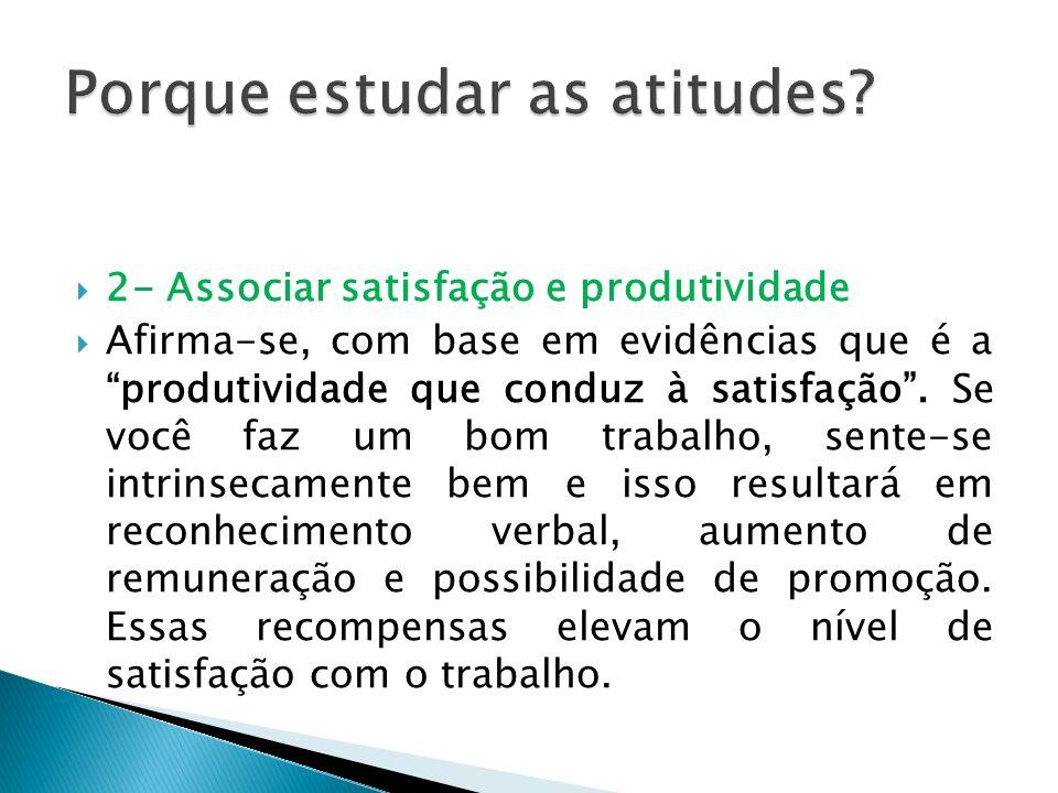 2- Associar satisfação e produtividade Afirma-se, com base em evidências que é a produtividade que conduz à satisfação. Se você faz um bom trabalho, s