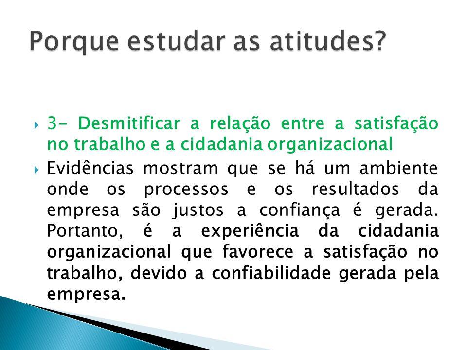 3- Desmitificar a relação entre a satisfação no trabalho e a cidadania organizacional Evidências mostram que se há um ambiente onde os processos e os