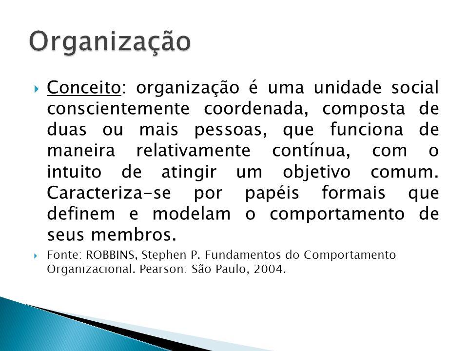 Conceito: organização é uma unidade social conscientemente coordenada, composta de duas ou mais pessoas, que funciona de maneira relativamente contínu