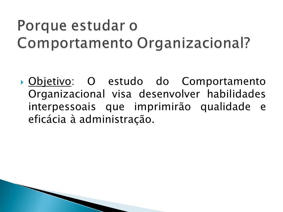 Objetivo: O estudo do Comportamento Organizacional visa desenvolver habilidades interpessoais que imprimirão qualidade e eficácia à administração.