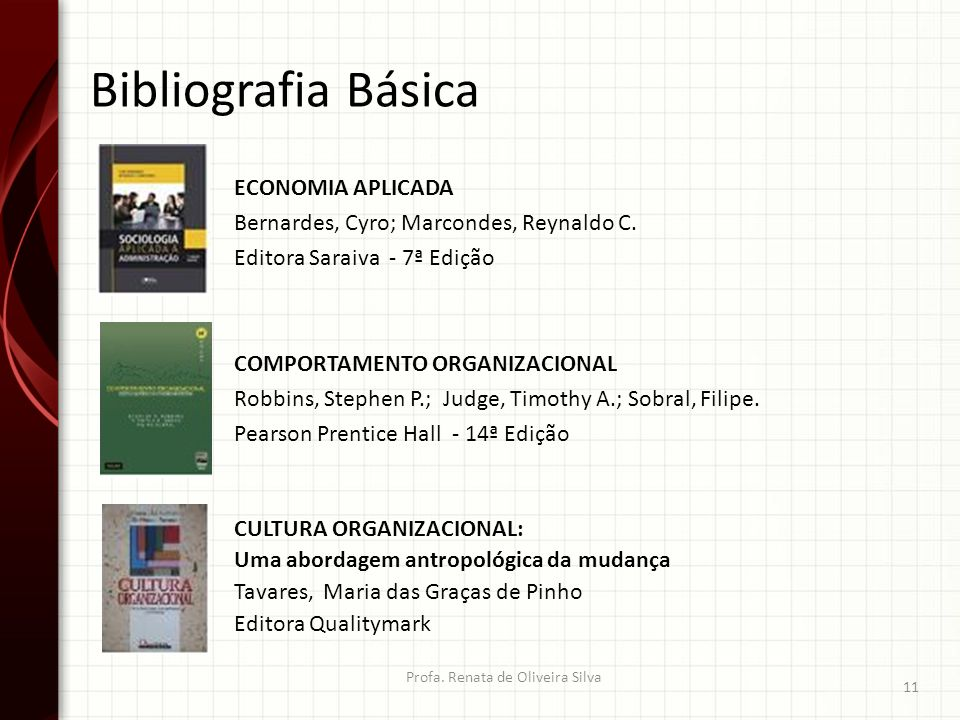 Bibliografia Básica ECONOMIA APLICADA Bernardes, Cyro; Marcondes, Reynaldo C. Editora Saraiva - 7ª Edição Profa. Renata de Oliveira Silva 11 COMPORTAM