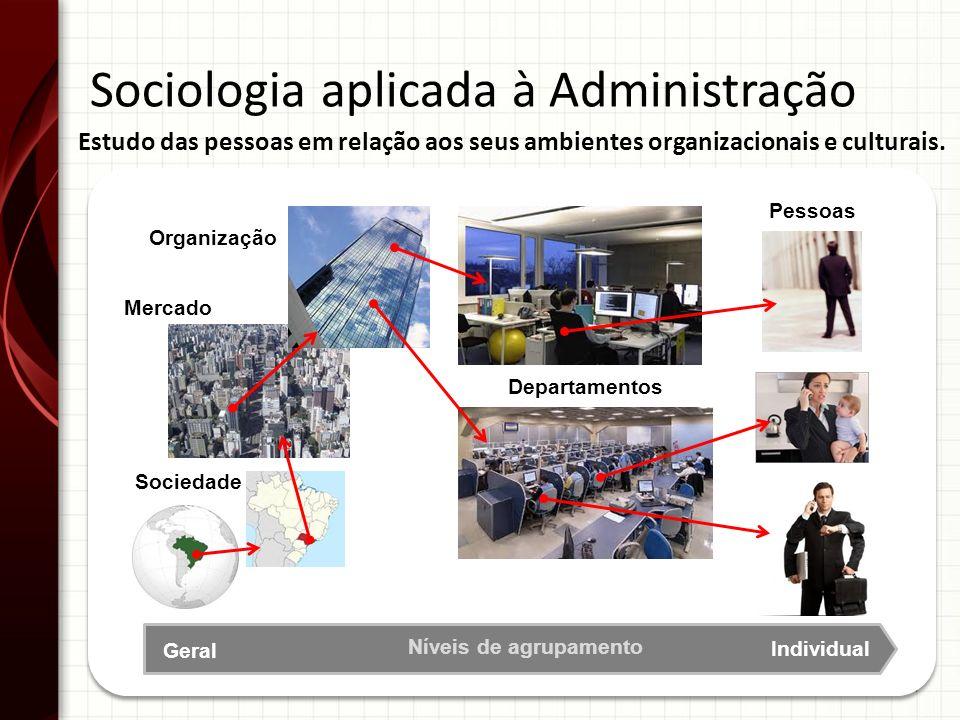 14 Sociologia aplicada à Administração Sociedade Organização Departamentos Pessoas Mercado Geral Individual Níveis de agrupamento Estudo das pessoas e