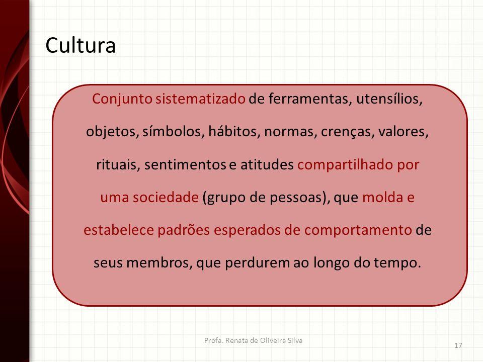 Cultura Profa. Renata de Oliveira Silva 17 Conjunto sistematizado de ferramentas, utensílios, objetos, símbolos, hábitos, normas, crenças, valores, ri