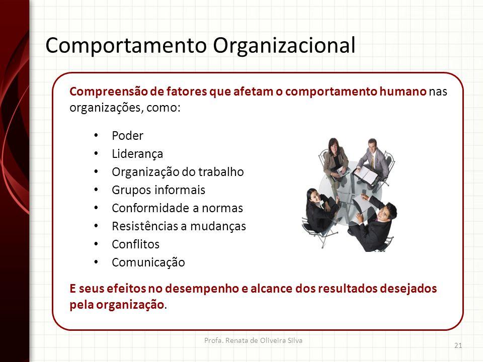 Comportamento Organizacional Profa. Renata de Oliveira Silva 21 Compreensão de fatores que afetam o comportamento humano nas organizações, como: Poder