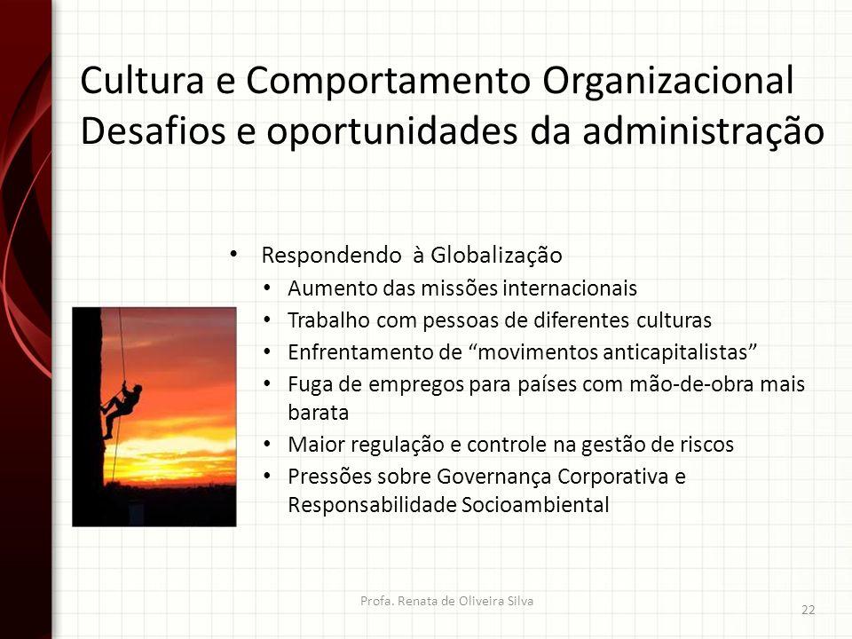 Cultura e Comportamento Organizacional Desafios e oportunidades da administração Profa. Renata de Oliveira Silva 22 Respondendo à Globalização Aumento