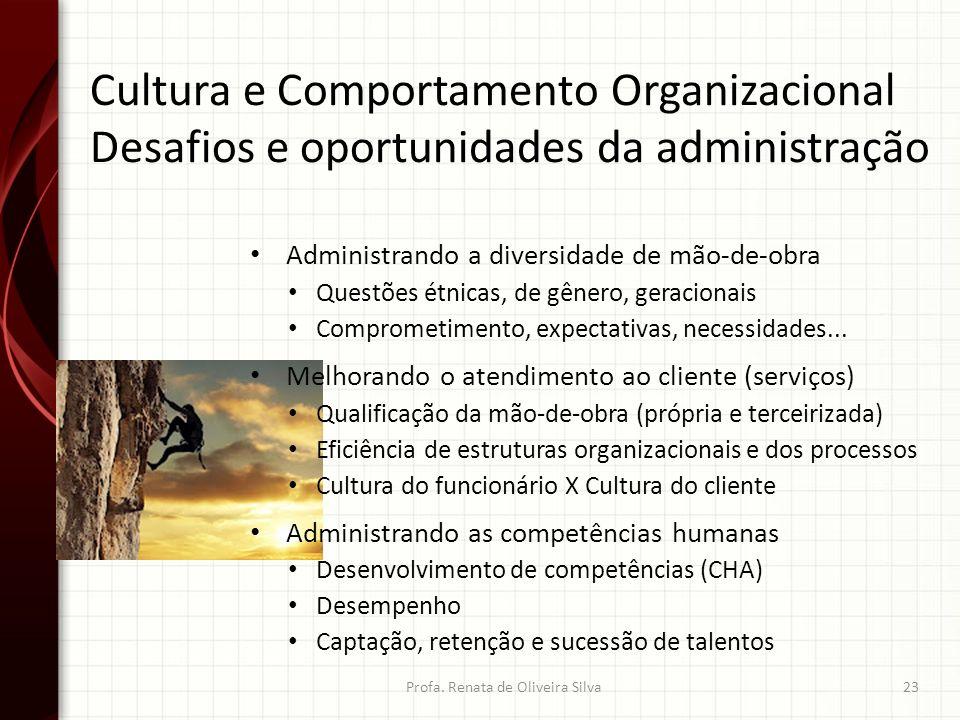 Cultura e Comportamento Organizacional Desafios e oportunidades da administração Profa. Renata de Oliveira Silva23 Administrando a diversidade de mão-