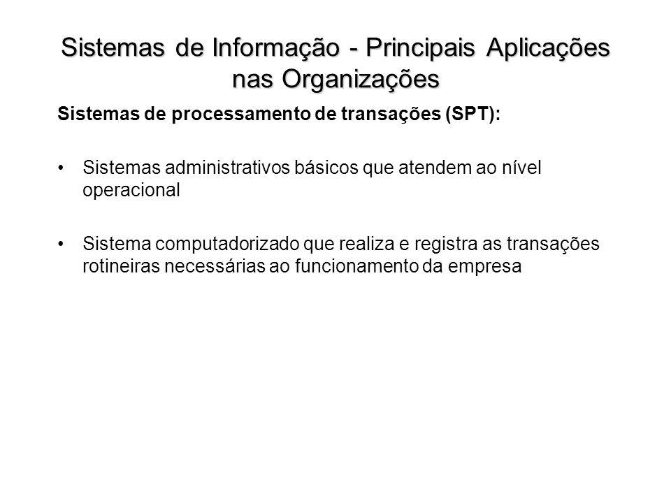 Sistemas de processamento de transações (SPT): Sistemas administrativos básicos que atendem ao nível operacional Sistema computadorizado que realiza e