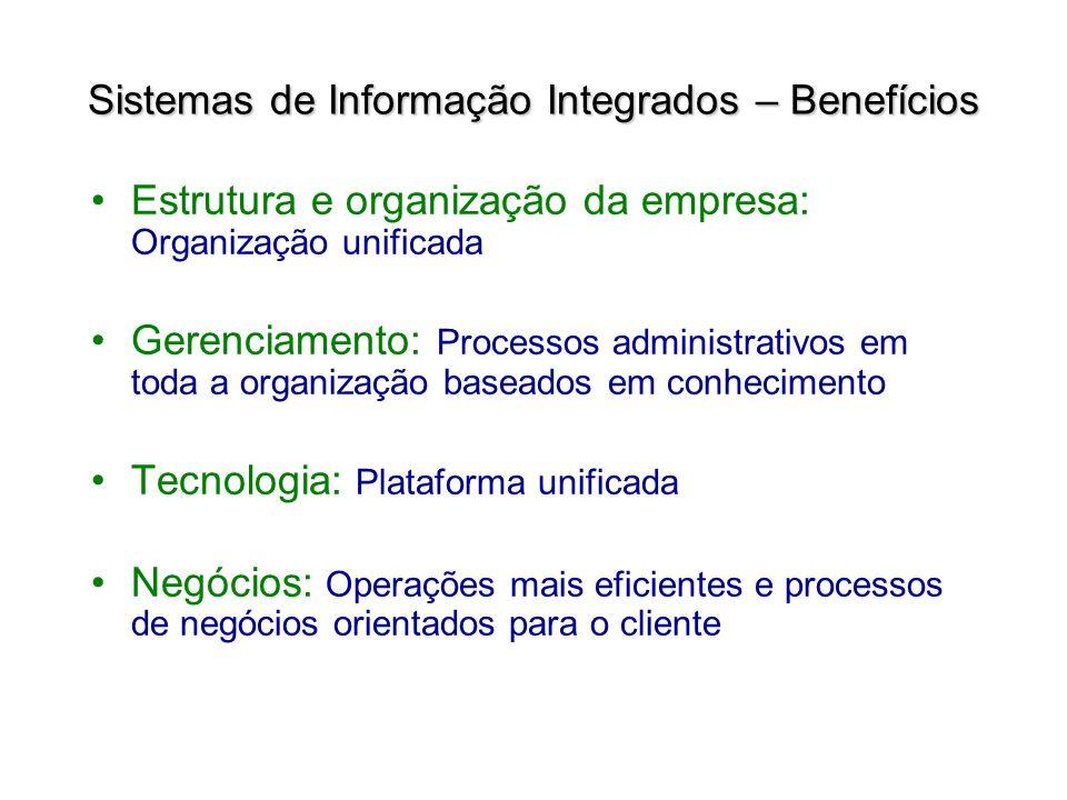 Estrutura e organização da empresa: Organização unificada Gerenciamento: Processos administrativos em toda a organização baseados em conhecimento Tecn