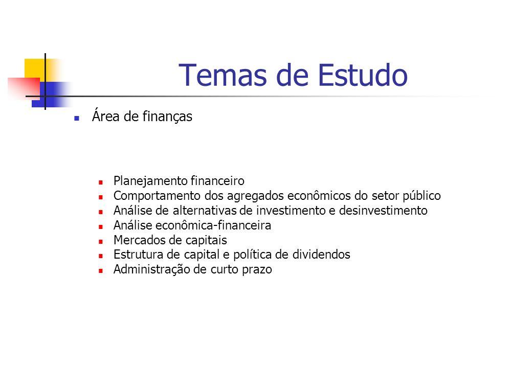 Temas de Estudo Área de finanças Planejamento financeiro Comportamento dos agregados econômicos do setor público Análise de alternativas de investimen