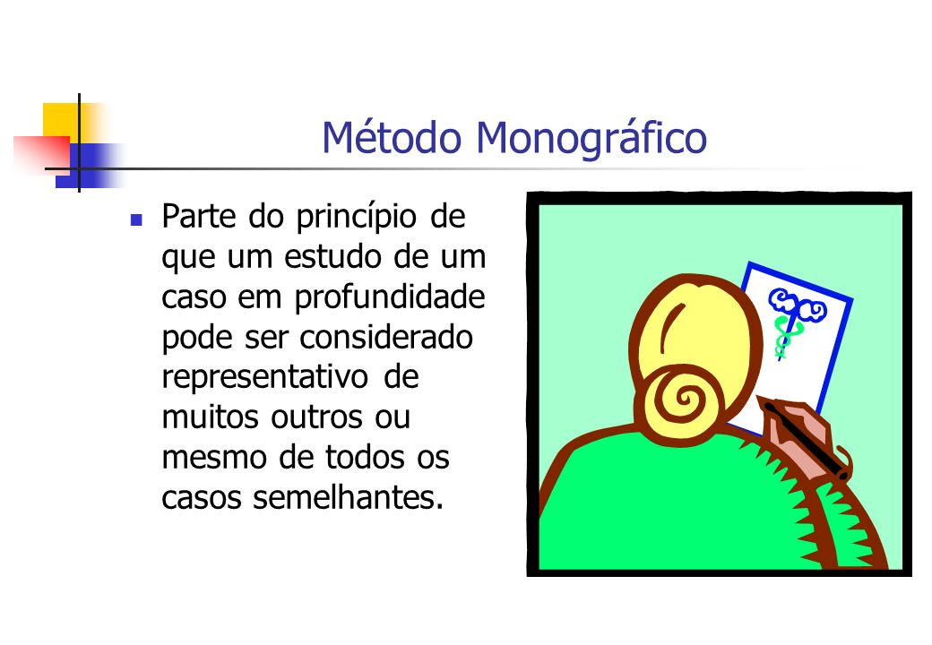 Método Monográfico Parte do princípio de que um estudo de um caso em profundidade pode ser considerado representativo de muitos outros ou mesmo de tod