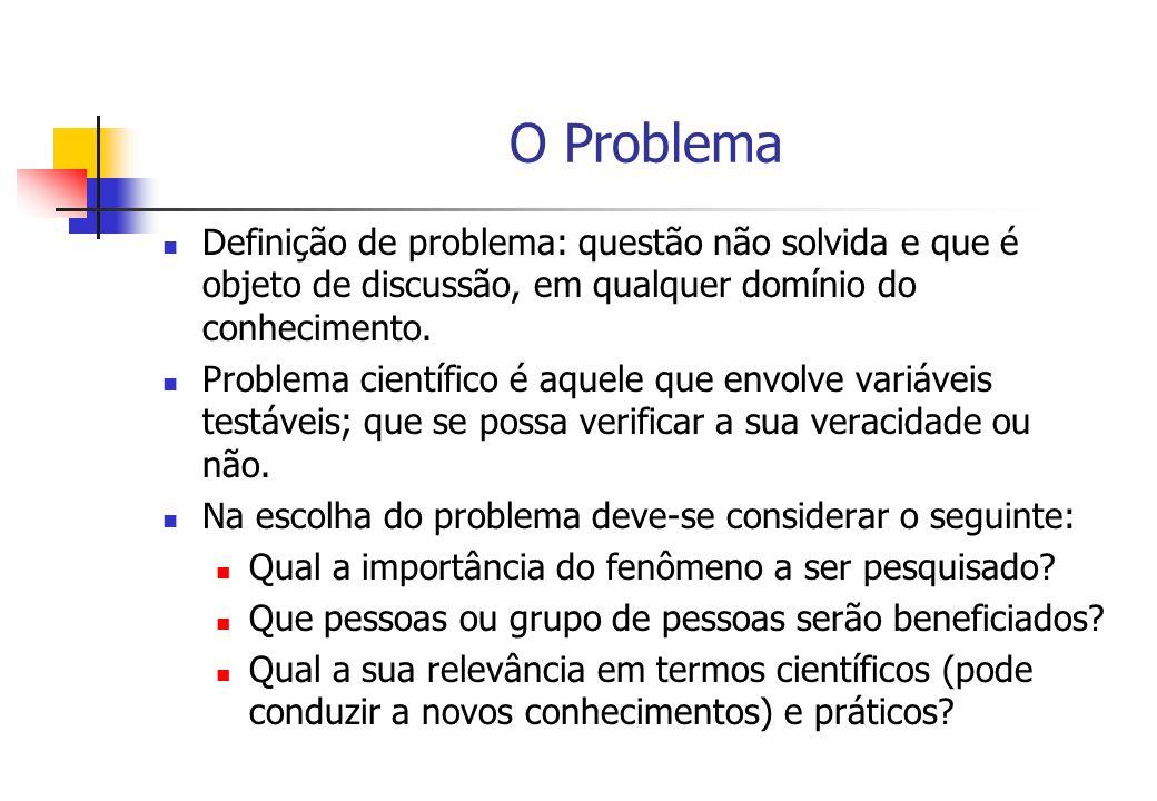 O Problema Definição de problema: questão não solvida e que é objeto de discussão, em qualquer domínio do conhecimento. Problema científico é aquele q