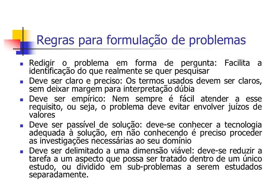 Regras para formulação de problemas Redigir o problema em forma de pergunta: Facilita a identificação do que realmente se quer pesquisar Deve ser clar