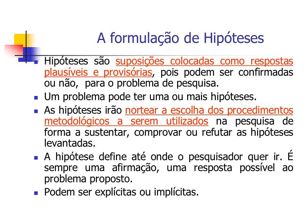 A formulação de Hipóteses Hipóteses são suposições colocadas como respostas plausíveis e provisórias, pois podem ser confirmadas ou não, para o proble