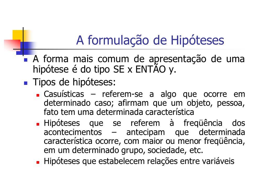 A formulação de Hipóteses A forma mais comum de apresentação de uma hipótese é do tipo SE x ENTÃO y. Tipos de hipóteses: Casuísticas – referem-se a al