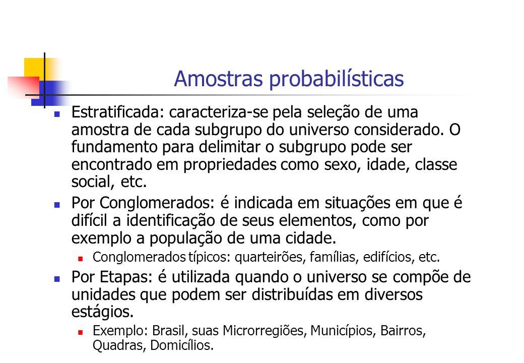 Amostras probabilísticas Estratificada: caracteriza-se pela seleção de uma amostra de cada subgrupo do universo considerado. O fundamento para delimit