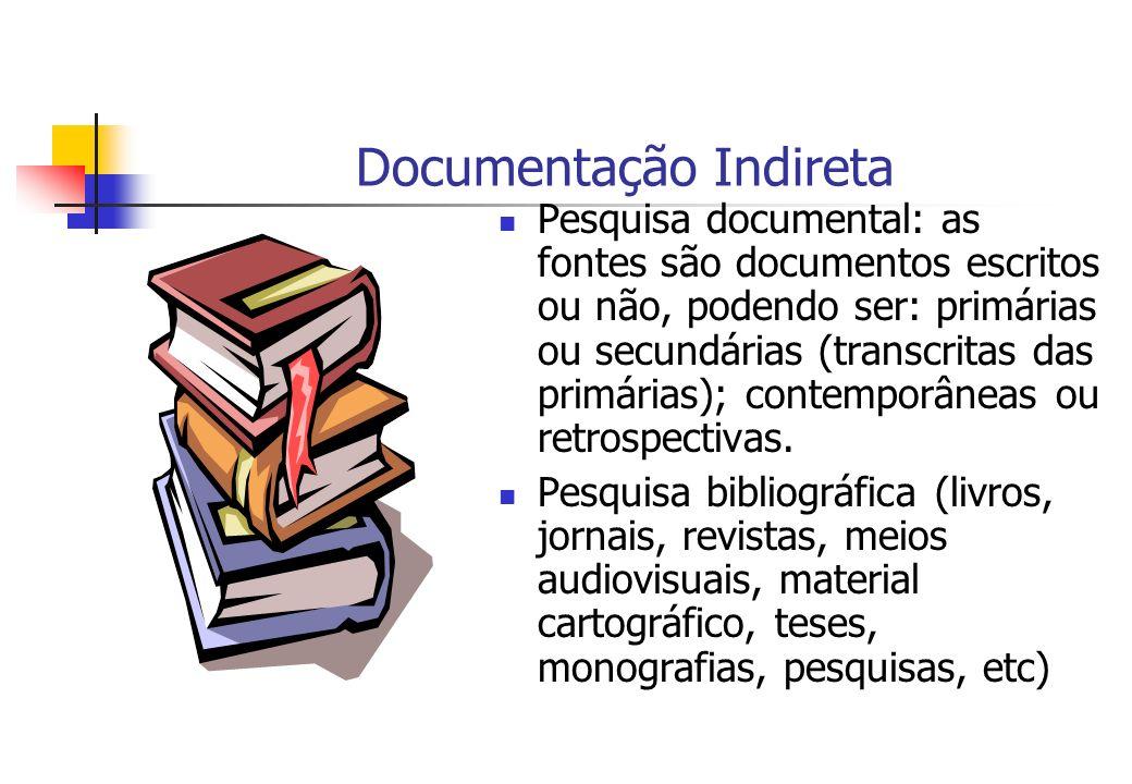 Documentação Indireta Pesquisa documental: as fontes são documentos escritos ou não, podendo ser: primárias ou secundárias (transcritas das primárias)