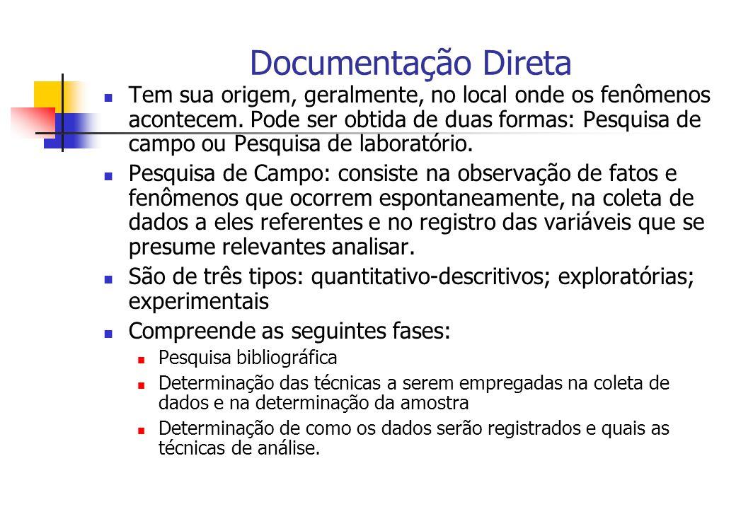 Documentação Direta Tem sua origem, geralmente, no local onde os fenômenos acontecem. Pode ser obtida de duas formas: Pesquisa de campo ou Pesquisa de
