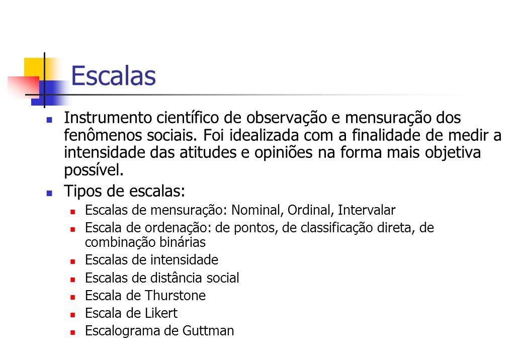 Escalas Instrumento científico de observação e mensuração dos fenômenos sociais. Foi idealizada com a finalidade de medir a intensidade das atitudes e