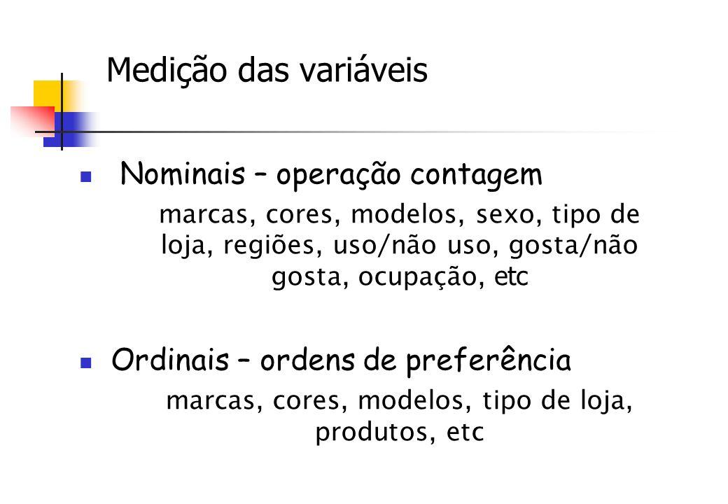Medição das variáveis Nominais – operação contagem marcas, cores, modelos, sexo, tipo de loja, regiões, uso/não uso, gosta/não gosta, ocupação, etc Or