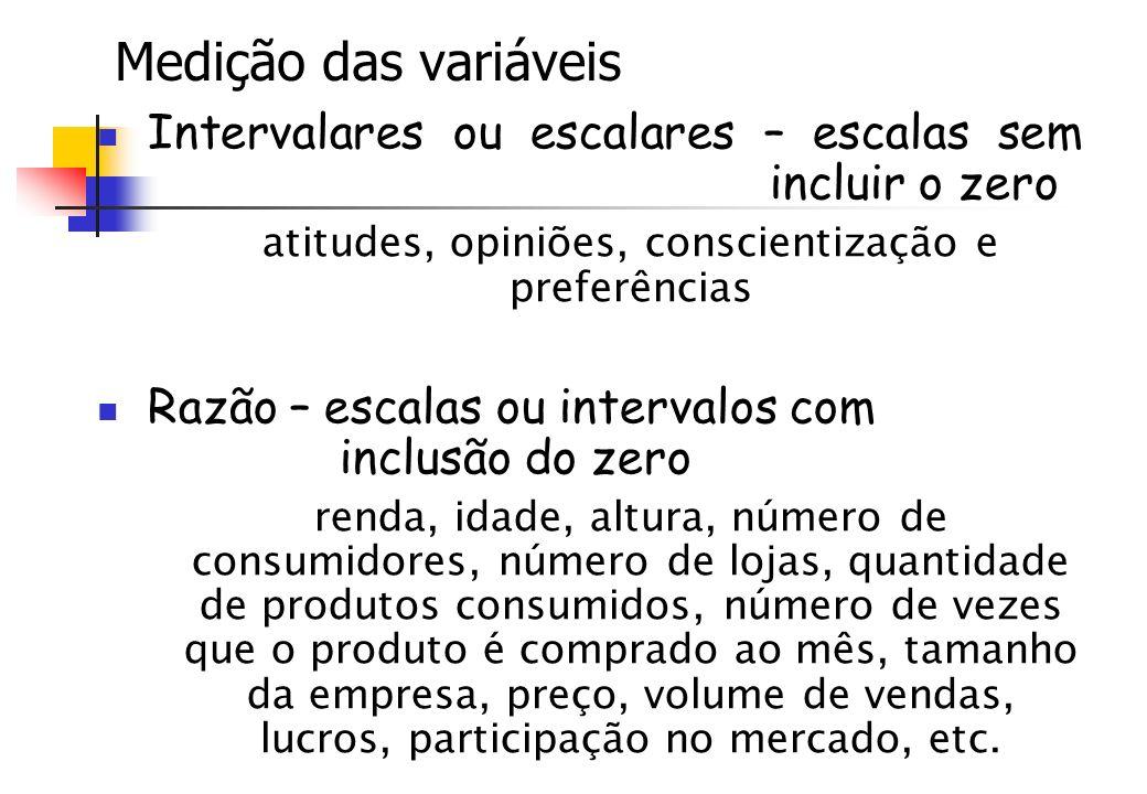 Medição das variáveis Intervalares ou escalares – escalas sem incluir o zero atitudes, opiniões, conscientização e preferências Razão – escalas ou int