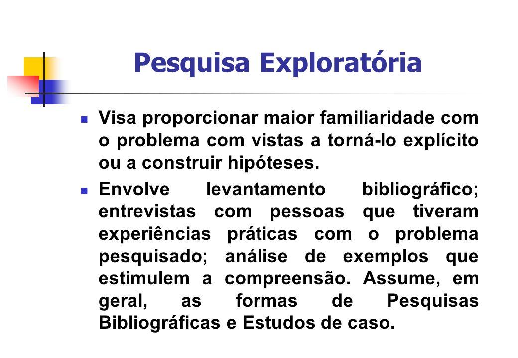 Pesquisa Exploratória Visa proporcionar maior familiaridade com o problema com vistas a torná-lo explícito ou a construir hipóteses. Envolve levantame