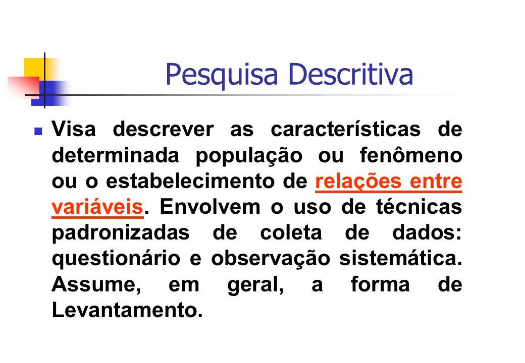 Pesquisa Descritiva Visa descrever as características de determinada população ou fenômeno ou o estabelecimento de relações entre variáveis. Envolvem