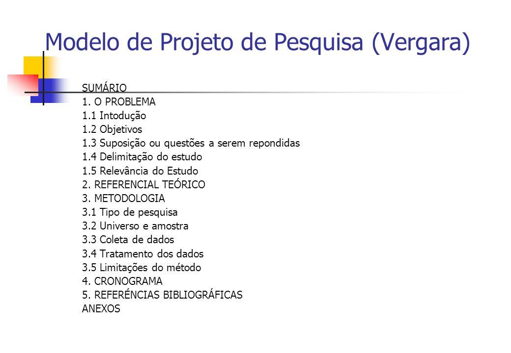 Modelo de Projeto de Pesquisa (Vergara) SUMÁRIO 1. O PROBLEMA 1.1 Intodução 1.2 Objetivos 1.3 Suposição ou questões a serem repondidas 1.4 Delimitação