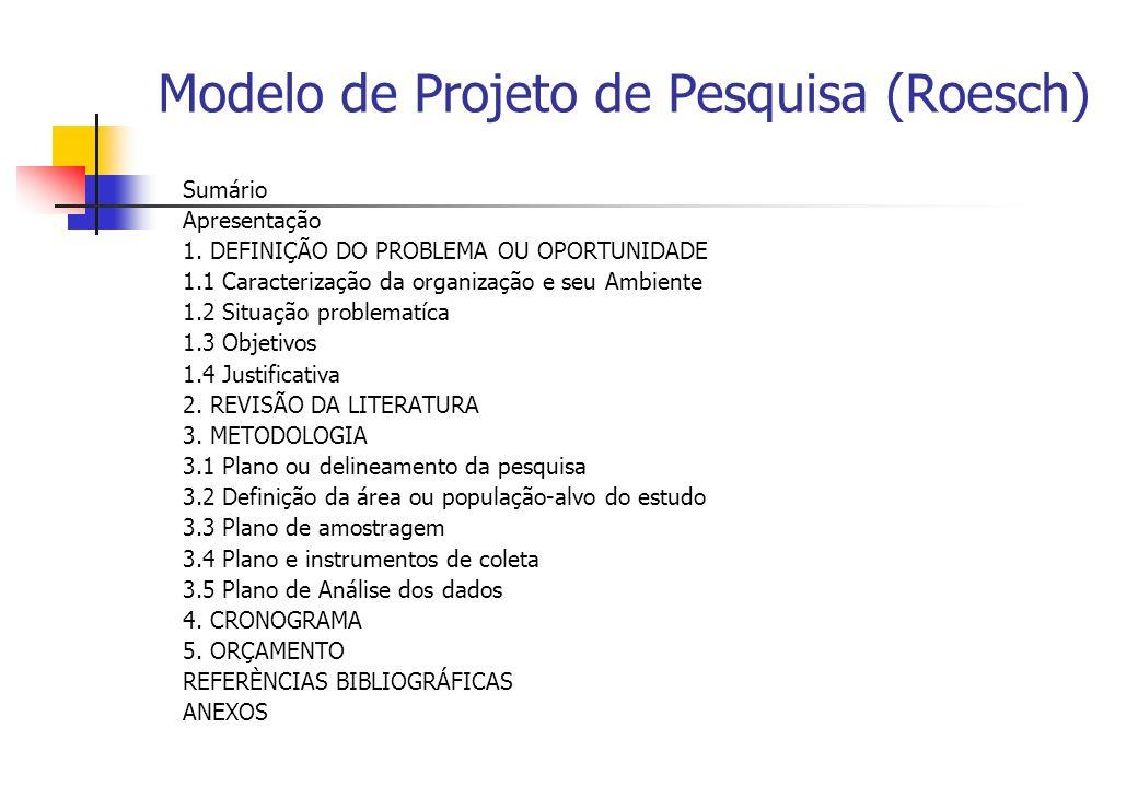 Modelo de Projeto de Pesquisa (Roesch) Sumário Apresentação 1. DEFINIÇÃO DO PROBLEMA OU OPORTUNIDADE 1.1 Caracterização da organização e seu Ambiente