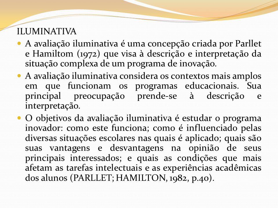 ILUMINATIVA A avaliação iluminativa é uma concepção criada por Parllet e Hamiltom (1972) que visa à descrição e interpretação da situação complexa de