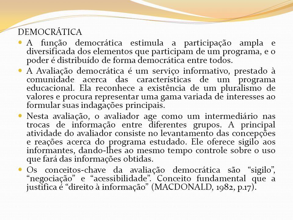 DEMOCRÁTICA A função democrática estimula a participação ampla e diversificada dos elementos que participam de um programa, e o poder é distribuído de