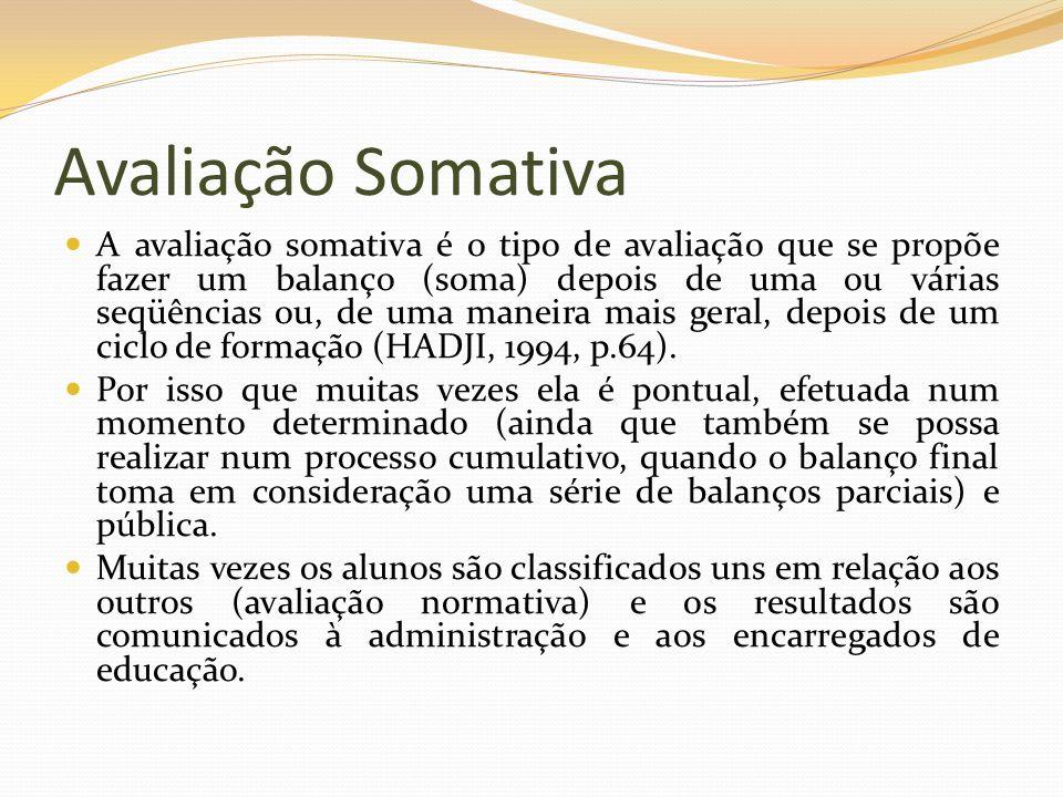 Avaliação Somativa A avaliação somativa é o tipo de avaliação que se propõe fazer um balanço (soma) depois de uma ou várias seqüências ou, de uma mane