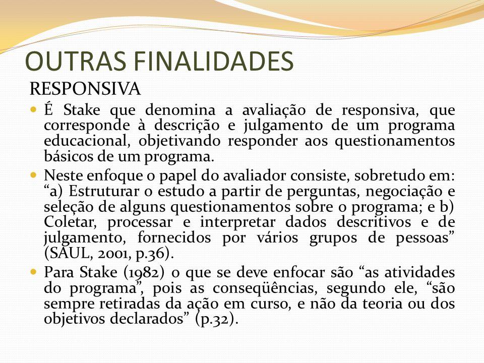 OUTRAS FINALIDADES RESPONSIVA É Stake que denomina a avaliação de responsiva, que corresponde à descrição e julgamento de um programa educacional, obj
