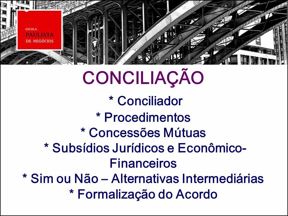 CONCILIAÇÃO * Conciliador * Procedimentos * Concessões Mútuas * Subsídios Jurídicos e Econômico- Financeiros * Sim ou Não – Alternativas Intermediária