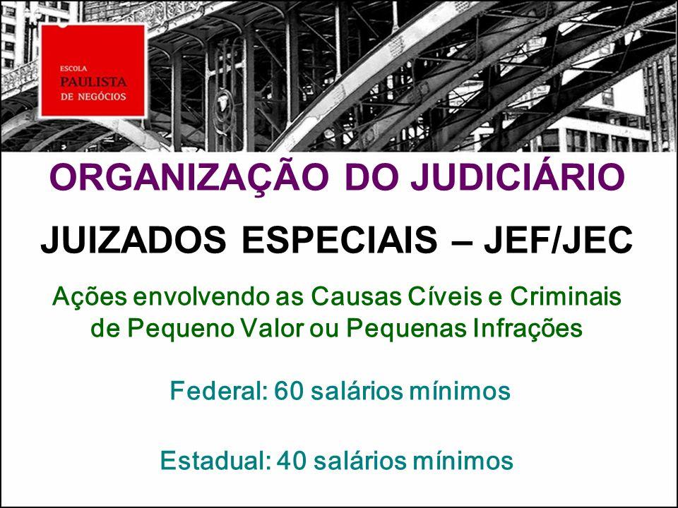 ORGANIZAÇÃO DO JUDICIÁRIO JUIZADOS ESPECIAIS – JEF/JEC Ações envolvendo as Causas Cíveis e Criminais de Pequeno Valor ou Pequenas Infrações Federal: 6