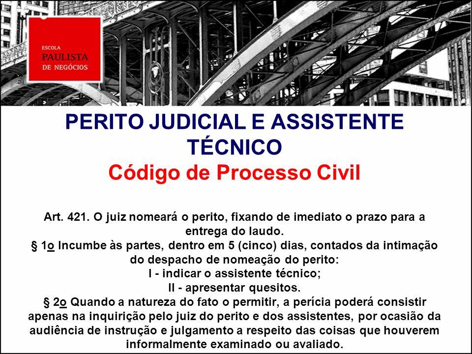 PERITO JUDICIAL E ASSISTENTE TÉCNICO Código de Processo Civil Art. 421. O juiz nomeará o perito, fixando de imediato o prazo para a entrega do laudo.