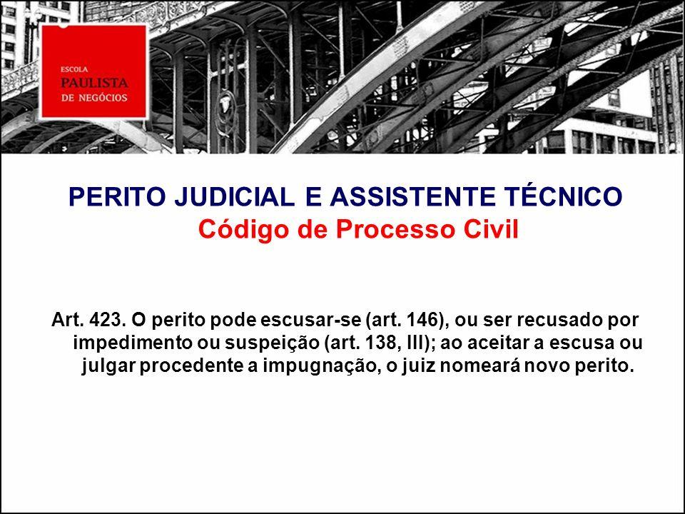 PERITO JUDICIAL E ASSISTENTE TÉCNICO Código de Processo Civil Art. 423. O perito pode escusar-se (art. 146), ou ser recusado por impedimento ou suspei