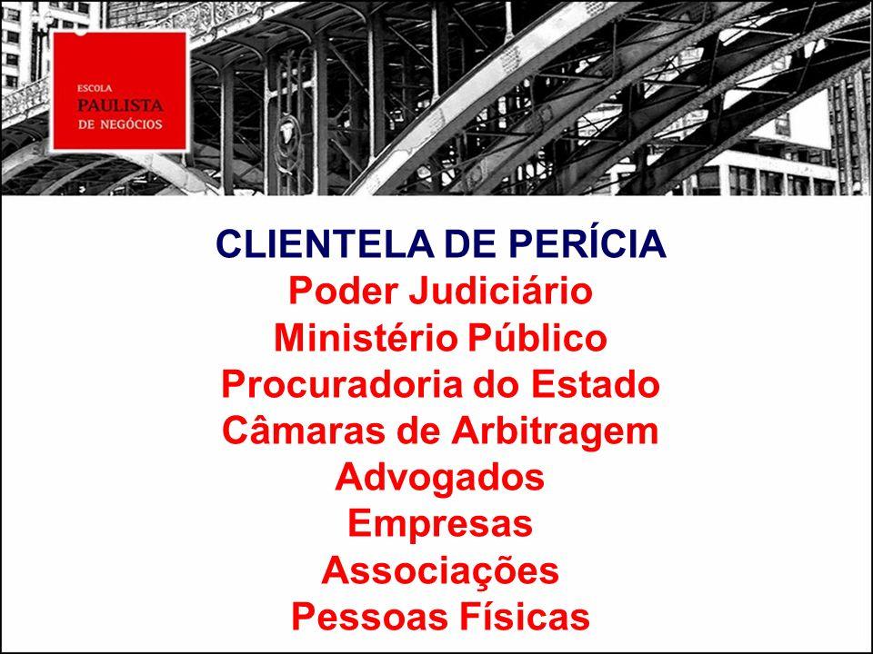 CLIENTELA DE PERÍCIA Poder Judiciário Ministério Público Procuradoria do Estado Câmaras de Arbitragem Advogados Empresas Associações Pessoas Físicas