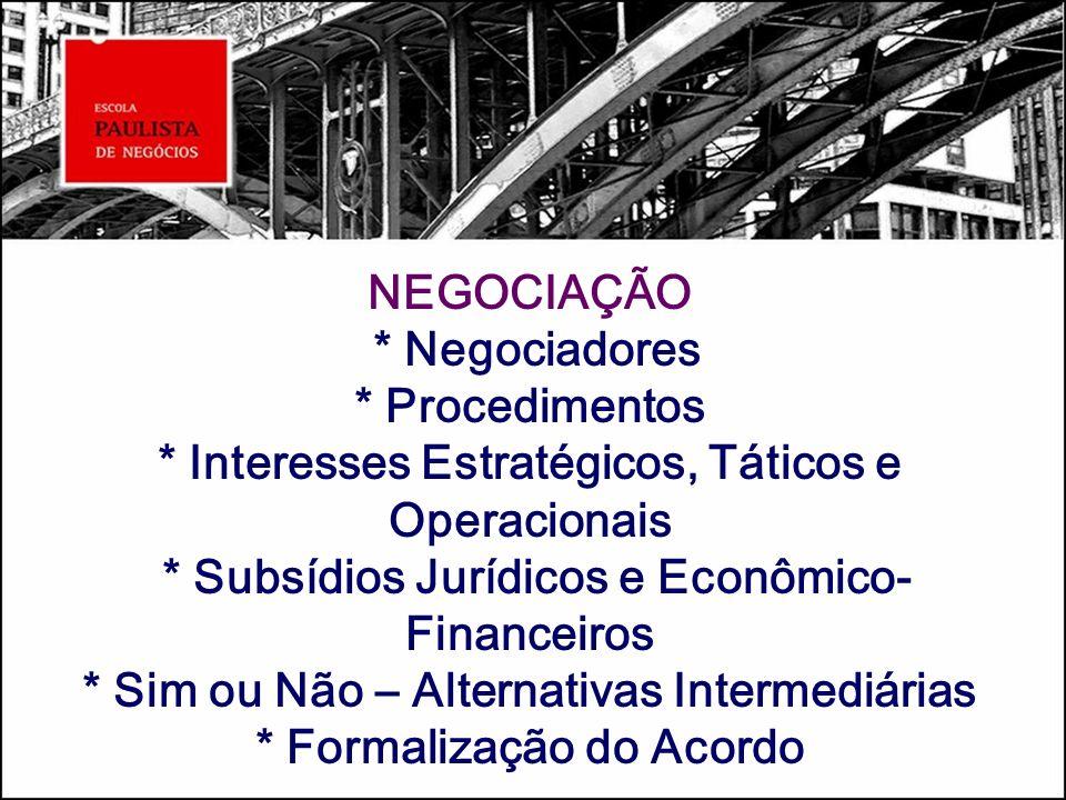 NEGOCIAÇÃO * Negociadores * Procedimentos * Interesses Estratégicos, Táticos e Operacionais * Subsídios Jurídicos e Econômico- Financeiros * Sim ou Nã