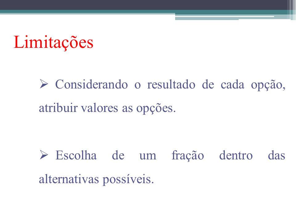 Limitações Considerando o resultado de cada opção, atribuir valores as opções. Escolha de um fração dentro das alternativas possíveis.