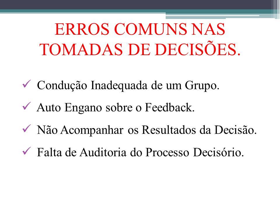 Condução Inadequada de um Grupo. Auto Engano sobre o Feedback. Não Acompanhar os Resultados da Decisão. Falta de Auditoria do Processo Decisório. ERRO