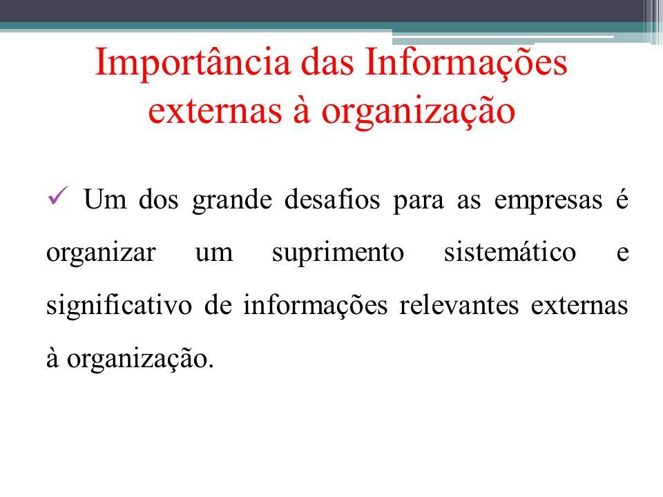Importância das Informações externas à organização Um dos grande desafios para as empresas é organizar um suprimento sistemático e significativo de in