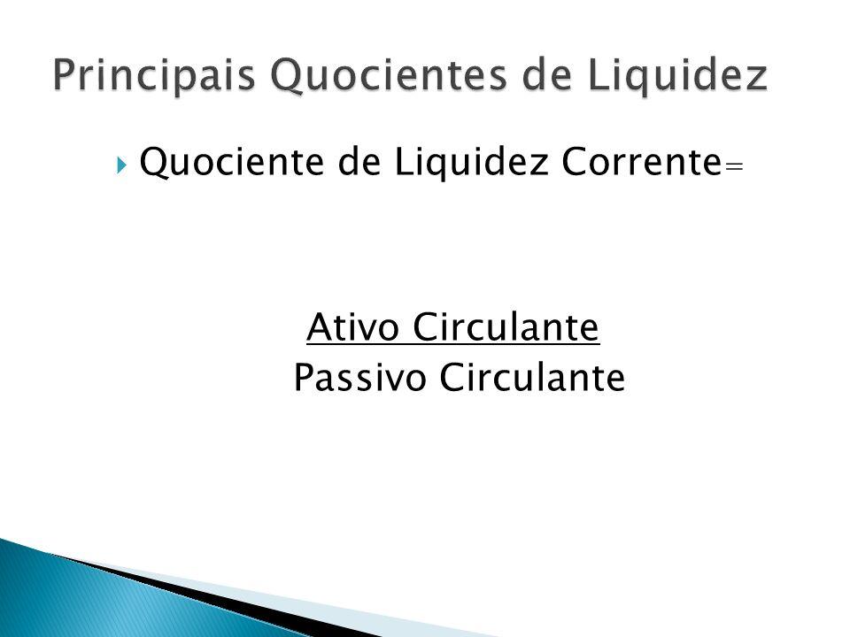 Quociente de Liquidez Corrente = Ativo Circulante Passivo Circulante