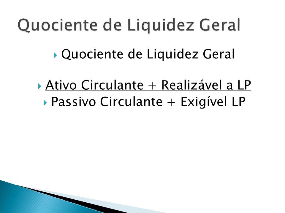 Quociente de Liquidez Geral Ativo Circulante + Realizável a LP Passivo Circulante + Exigível LP