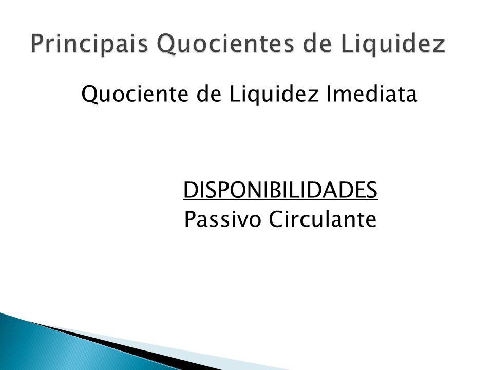 Quociente de Liquidez Imediata DISPONIBILIDADES Passivo Circulante